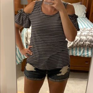 Navy and white striped cold shoulder tee